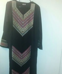 Used,  Embroidered Black Abaya Dress size M NWOTBoutique for sale